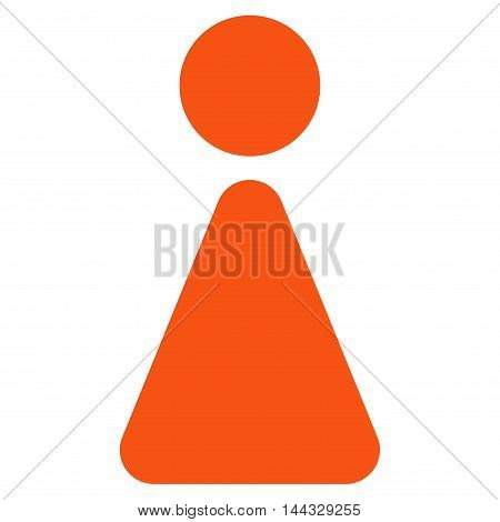 Woman icon. Glyph style is flat iconic symbol with rounded angles, orange color, white background.