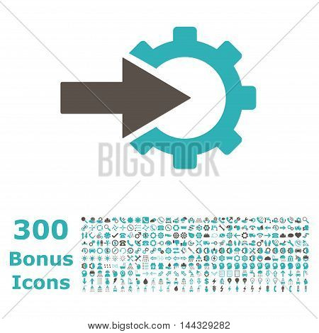 Cog Integration icon with 300 bonus icons. Vector illustration style is flat iconic bicolor symbols, grey and cyan colors, white background.