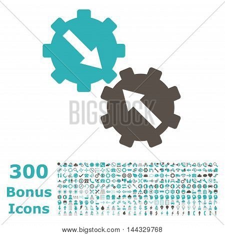 Gear Integration icon with 300 bonus icons. Vector illustration style is flat iconic bicolor symbols, grey and cyan colors, white background.