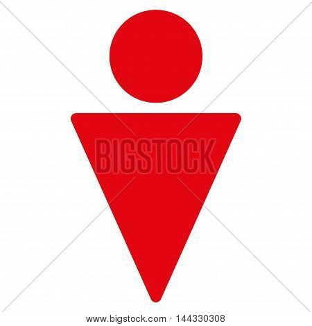Guy icon. Glyph style is flat iconic symbol with rounded angles, red color, white background.