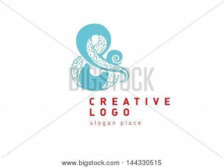 Creative development logo typography and wild octopus