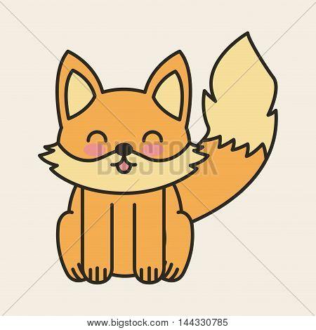 cute fox tender isolated icon vector illustration design