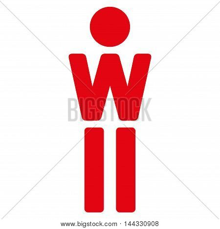 Girl icon. Glyph style is flat iconic symbol with rounded angles, red color, white background.