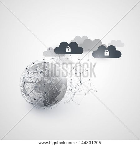 Abstract Cloud Computing and Global Network Connections Concept Design with Earth Globe and Transparent Geometric Mesh, Wireframe Sphere - Illustration in Editable Vector Format