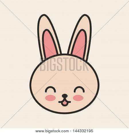 cute rabbit tender isolated icon vector illustration design