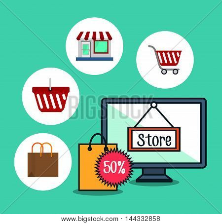 online store marketing icon vector illustration graphic