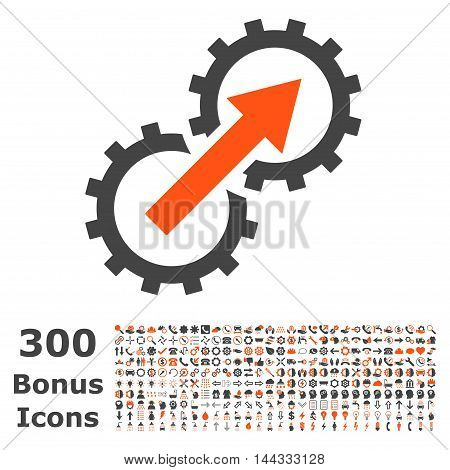 Gear Integration icon with 300 bonus icons. Vector illustration style is flat iconic bicolor symbols, orange and gray colors, white background.