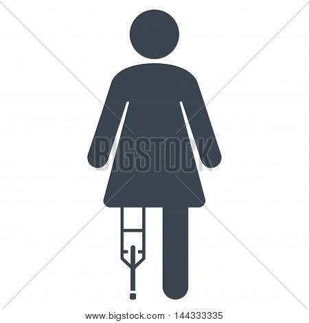Patient Woman icon. Glyph style is flat iconic symbol with rounded angles, smooth blue color, white background.