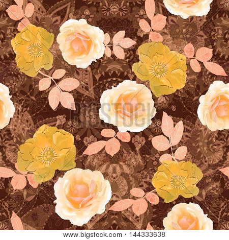 Vector illustration of floral seamless. Isolated hand drawn roses with leafs on beige line art background