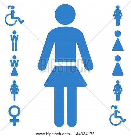 Lady icon. Glyph style is flat iconic symbol, cobalt color, white background.