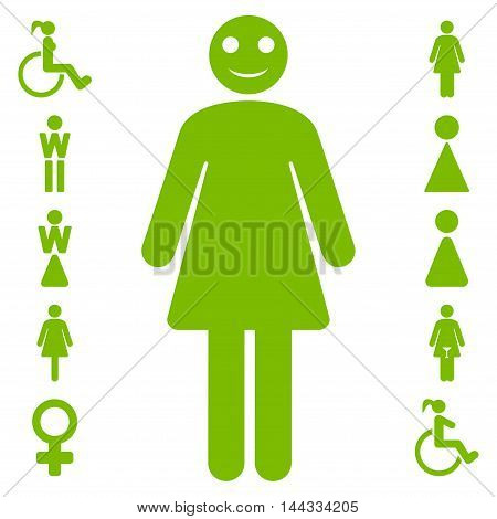 Lady icon. Glyph style is flat iconic symbol, eco green color, white background.