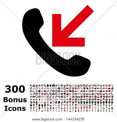 Incoming Call icon with 300 bonus icons. Vector illustration style is flat iconic bicolor symbols, intensive red and black colors, white background.