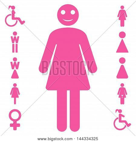 Lady icon. Glyph style is flat iconic symbol, pink color, white background.