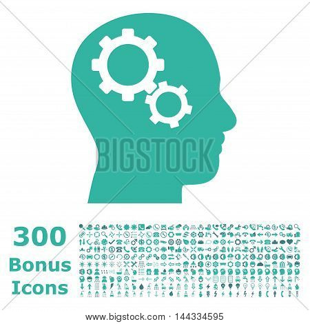 Brain Gears icon with 300 bonus icons. Vector illustration style is flat iconic bicolor symbols, cobalt and cyan colors, white background.