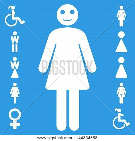 Lady icon. Vector style is flat iconic symbol, white color, blue background.