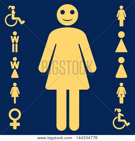 Lady icon. Vector style is flat iconic symbol, yellow color, blue background.