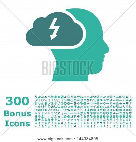 Brainstorming icon with 300 bonus icons. Vector illustration style is flat iconic bicolor symbols, cobalt and cyan colors, white background.