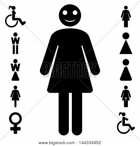 Lady icon. Vector style is flat iconic symbol, black color, white background.