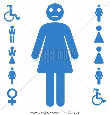 Lady icon. Vector style is flat iconic symbol, cobalt color, white background.