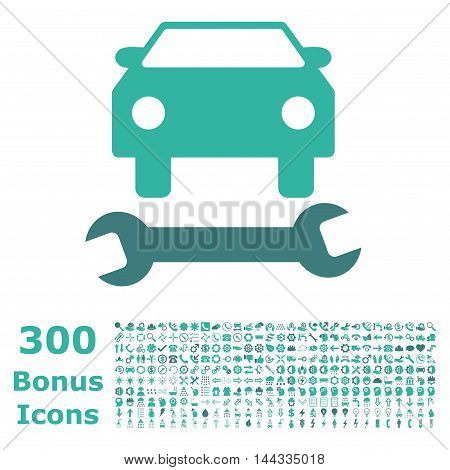 Car Repair icon with 300 bonus icons. Vector illustration style is flat iconic bicolor symbols, cobalt and cyan colors, white background.