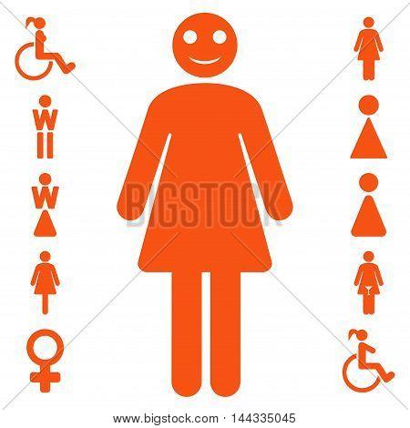 Lady icon. Vector style is flat iconic symbol, orange color, white background.