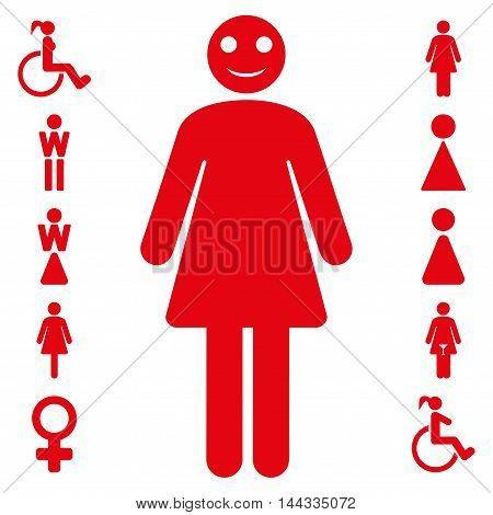 Lady icon. Vector style is flat iconic symbol, red color, white background.