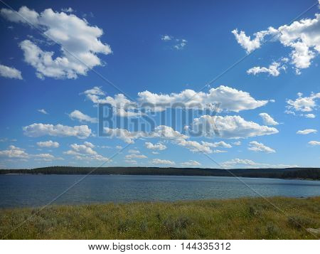 A nice vista of Yellowstone Lake in summertime