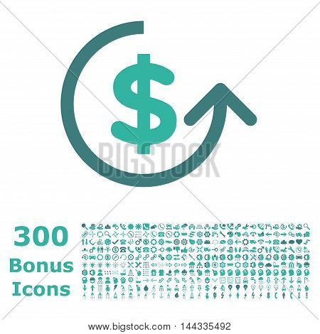 Chargeback icon with 300 bonus icons. Vector illustration style is flat iconic bicolor symbols, cobalt and cyan colors, white background.