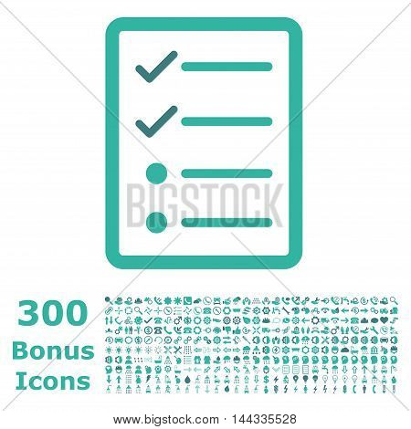 Checklist Page icon with 300 bonus icons. Vector illustration style is flat iconic bicolor symbols, cobalt and cyan colors, white background.