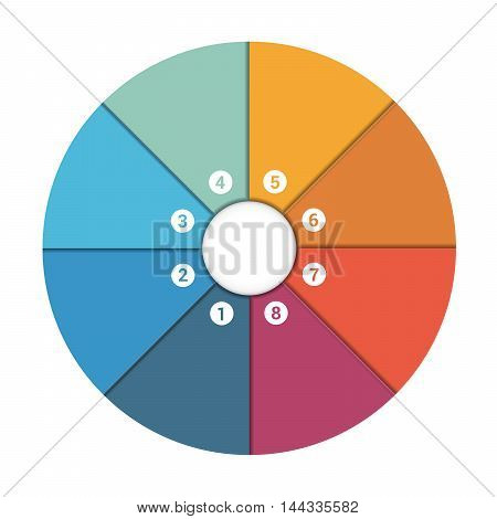 Colourful In The Form Of Flower Petals Around Circle. Template Infographic 8 Position. Pie Chart