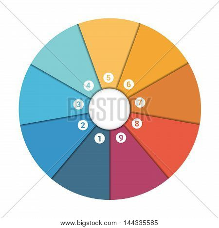 Colourful In The Form Of Flower Petals Around Circle. Template Infographic 9 Position. Pie Chart