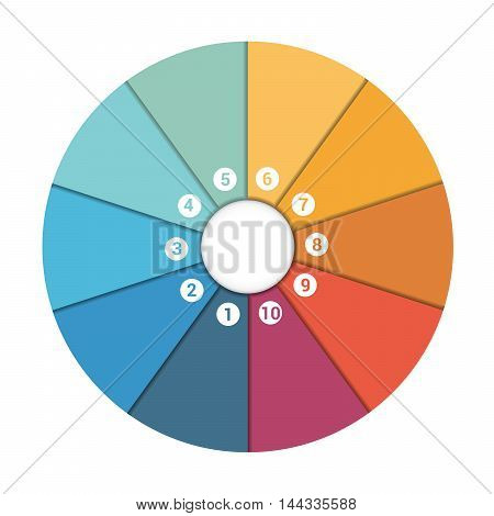 Colourful In The Form Of Flower Petals Around Circle. Template Infographic 10 Position. Pie Chart