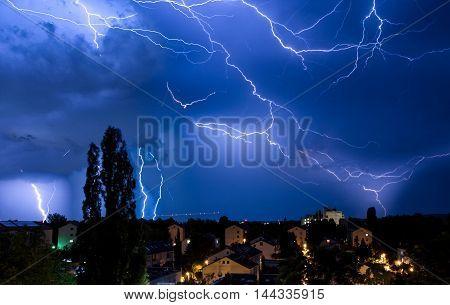 Multiple Lightning Strikes in Dramatic Sky Storm Manipulation