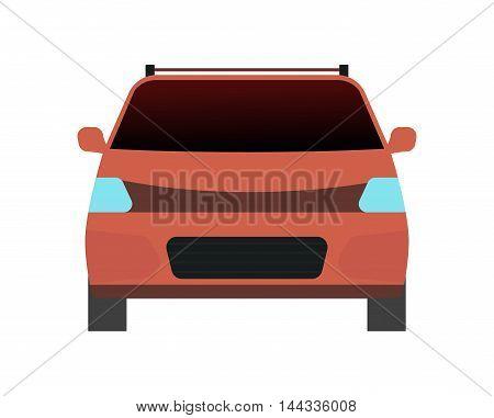Car sedan front view vehicle transport type design sign technology style vector. Generic sedan car design flat vector illustration isolated on white. Transport sedan object