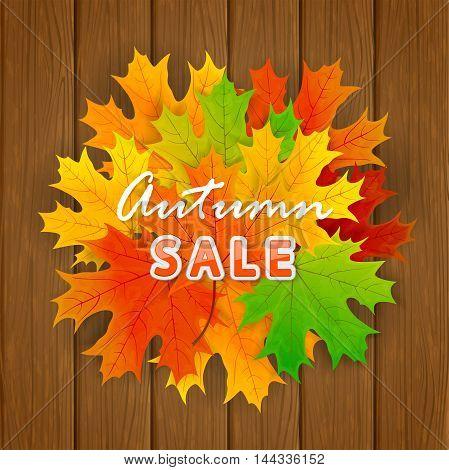 Inscription Autumn sale and orange maple leaves on wooden background, illustration.