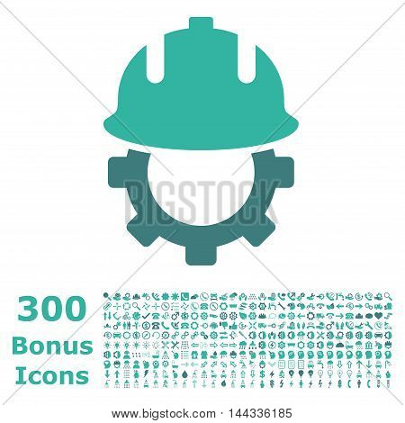 Development Helmet icon with 300 bonus icons. Vector illustration style is flat iconic bicolor symbols, cobalt and cyan colors, white background.