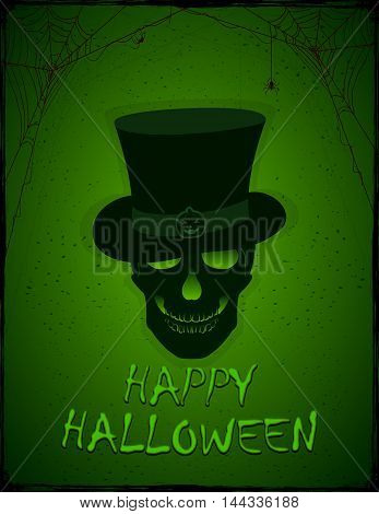 Halloween green background with skull in the hat, black spiders and grunge elements, illustration.
