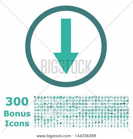 Down Rounded Arrow icon with 300 bonus icons. Vector illustration style is flat iconic bicolor symbols, cobalt and cyan colors, white background.