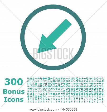 Down-Left Rounded Arrow icon with 300 bonus icons. Vector illustration style is flat iconic bicolor symbols, cobalt and cyan colors, white background.