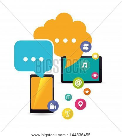 smartphone table bubble cloud mobile apps application online icon set. Colorful and flat design. Vector illustration