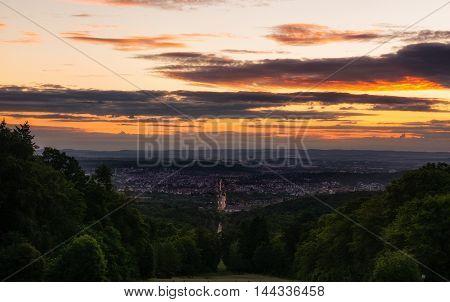 Sunrise Landscape View Solitude Street Stuttgart Germany