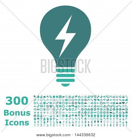 Electric Bulb icon with 300 bonus icons. Vector illustration style is flat iconic bicolor symbols, cobalt and cyan colors, white background.