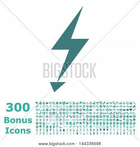 Electric Strike icon with 300 bonus icons. Vector illustration style is flat iconic bicolor symbols, cobalt and cyan colors, white background.