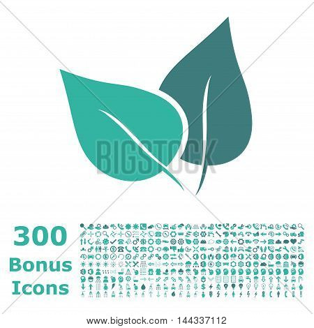 Flora Plant icon with 300 bonus icons. Vector illustration style is flat iconic bicolor symbols, cobalt and cyan colors, white background.