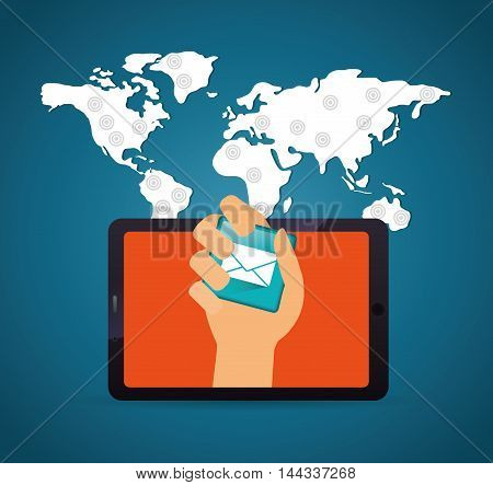 tablet map envelope hand mobile apps application online icon set. Colorful and flat design. Vector illustration