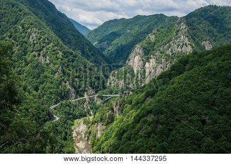 Transfagarasan Road seen from ruined Poenari Castle on Mount Cetatea in Romania