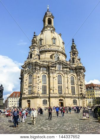 People Visit The Frauenkirche In Dresden