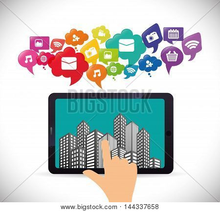 tablet city mobile apps application online icon set. Colorful and flat design. Vector illustration