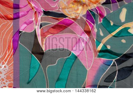 Fabric texture abstract poppies. tissue textile material