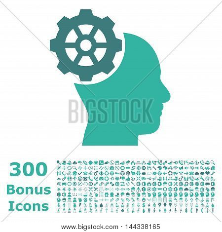 Head Gear icon with 300 bonus icons. Vector illustration style is flat iconic bicolor symbols, cobalt and cyan colors, white background.